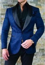 2017 Latest Pant Brasão Designs Azul Royal Padrão Dos Homens Do Smoking do baile de Finalistas terno Blazers Slim Fit Personalizado 2 Peça Terno Do Noivo Terno Masculino
