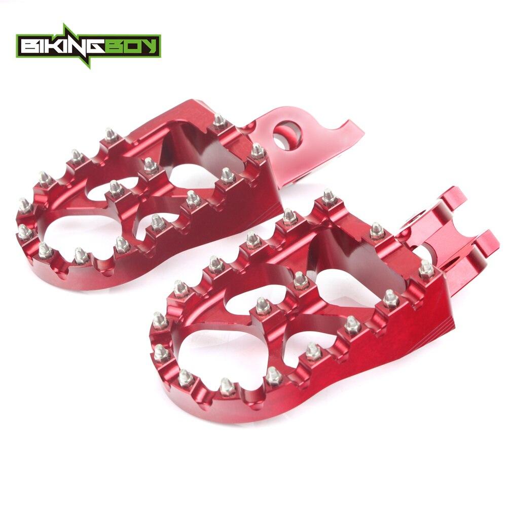 BIKINGBOY CNC Billet MX Motocross Foot Pegs Footpegs Footrests Pedals for Honda CRF 250 450 R X 2004-2016 CR 125 250 R CRF 150 l r pillion foot peg for honda c70 ct90 cb125 cb200 cg110 cg125 jx110 jx125 xl250 xl350