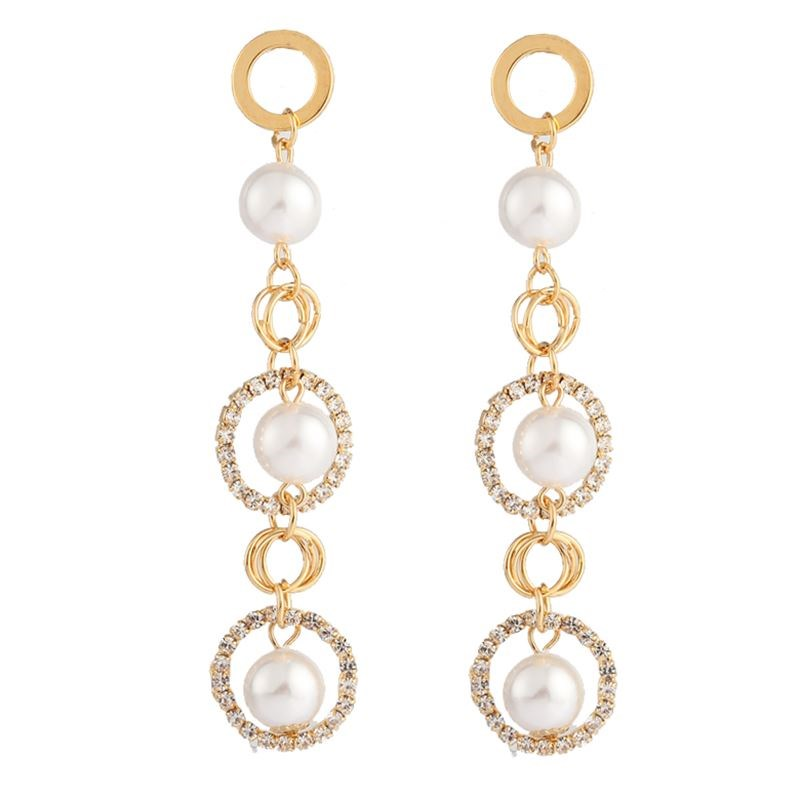 Trendy Elegant Created Big Simulated Pearl Long Earrings Geometrical Round Statement Drop with pearl