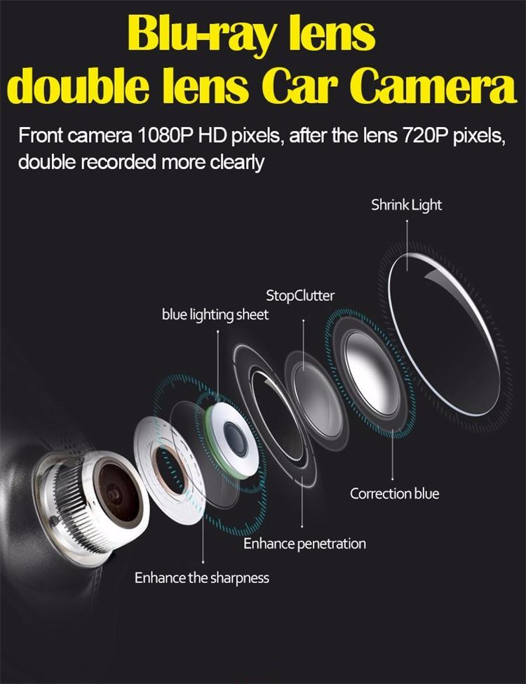 FHD 1080P car camera 4.3-inch Mirror Rearview screen dual lens Car DVR Night Vision rearview mirror auto dvrs Stop Recording 13