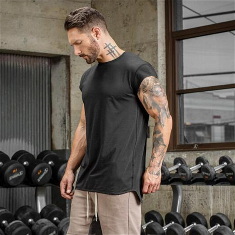 Brand clothing fitness   t     shirt   men fashion extend long tshirt summer gyms short sleeve   t  -  shirt   cotton bodybuilding crossfit tops