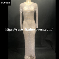 BU26901 Лидер продаж чистой пряжи серии Sexy Для женщин Длинная юбка полные сверкающими кристаллами для ночного клуба День рождения певица Этап