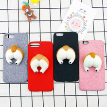 corgi handmake Needle Wool felt cute cat dog butt ass cover for apple iphone 6 6s plus 7 7P 8 8P X soft mobile phone Case capa