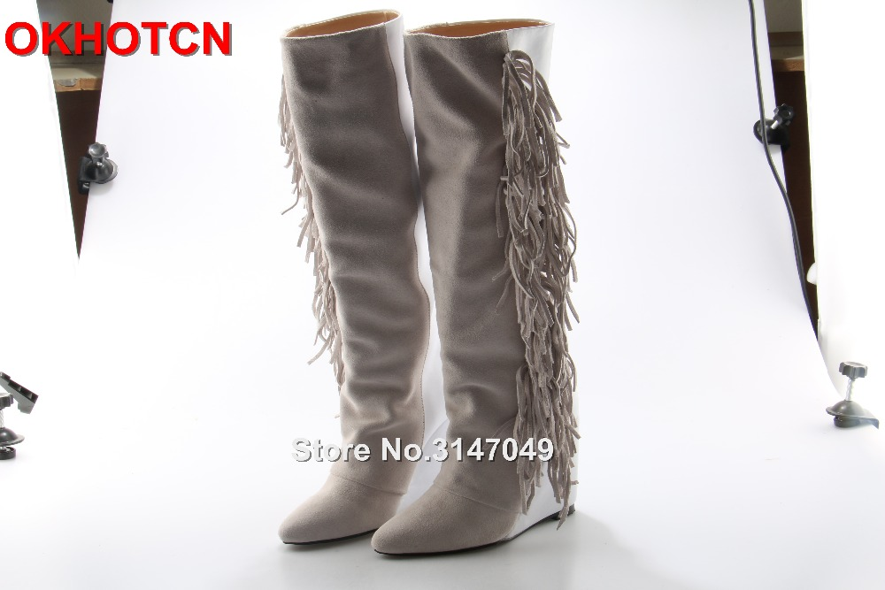где купить  Fashion Women Fringe Suede Soft Leather Knee High Boots Patchwork Tassel Wedge White Boots Slip-On Botas Mujer Brand Shoes Woman  по лучшей цене