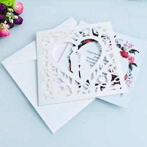 Image 4 - Cartão de visita de casamento 50 peças, azul branco vermelho oco coração corte a laser convites de casamento impressão cartão postal suprimentos da festa