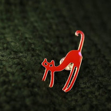 Fashion Candy Red Black White Enamel Lovely Cat Brooches Vintage Brooch Stud Accessories For Women