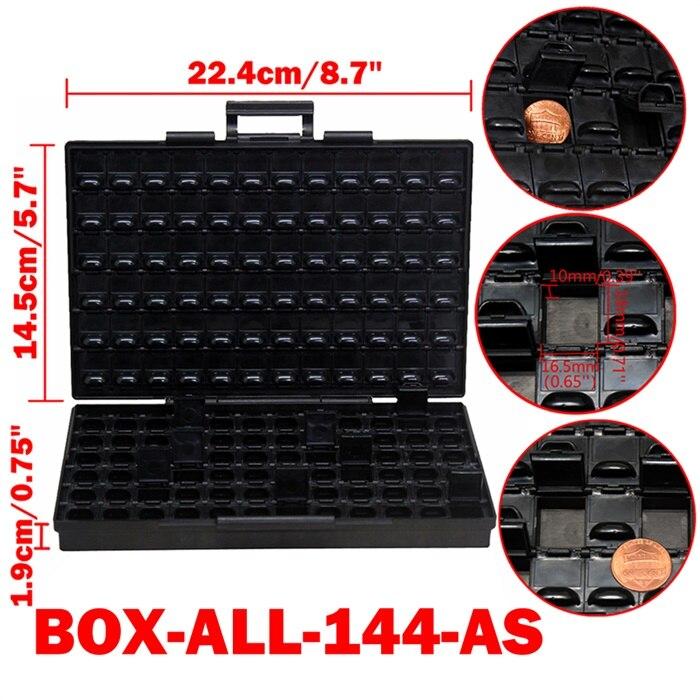 AideTek ESD Safe SMD хранилище IC Box Bins анти-статика SMT Органайзер транзисторный ящик для хранения электроники и органайзеры BOXALLAS - Цвет: BOXALL144AS