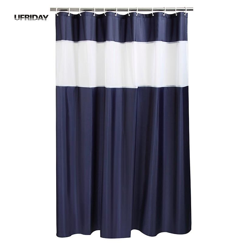 UFRIDAY Bathroom Shower Curtains Stitching Shower Curtain White Gauze Beautiful Waterproof Polyester Fabric Bath Curtain Hooks