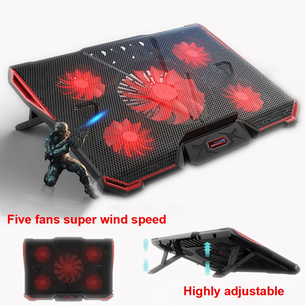 COOLCOLD Laptop Stand USB laptop Cooler With Five Fans Ventilador Usb Cooler Gaming Daily Use For