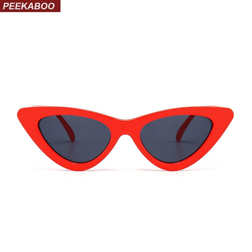 Peekaboo bonito sexy retro cat eye sunglasses mulheres preto pequeno branco  2018 triângulo do vintage barato b700b331dc