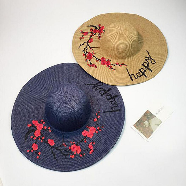afd99e6f96a 2017 New Summer Hats For Women Flower Patch Sequin Letter Embroidery Sun  Hat Ladies Large Brim Beach Straw Caps Chapeu Feminino