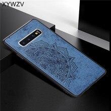 Para Samsung Galaxy Caso S10 Textura De Pano Macio TPU Silicone Case Rígido do PC Para Samsung Galaxy S10 Tampa Traseira Para samsung Tampa S10