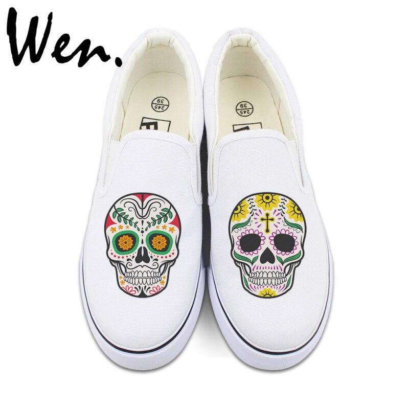 Prix pour Wen D'origine Blanc Noir Glissement Sur Chaussures Custom Design Mexicain Crânes Floral Totem Hommes Femmes Toile Sneakers