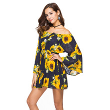 women dress elegant new summer dresses vintage bohemian print flare sleeve sexy plus size woman fashion gothic
