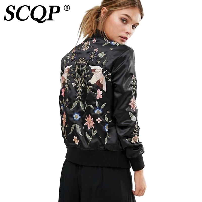 Scqp balck floral bird embroidered bomber jacket ladies