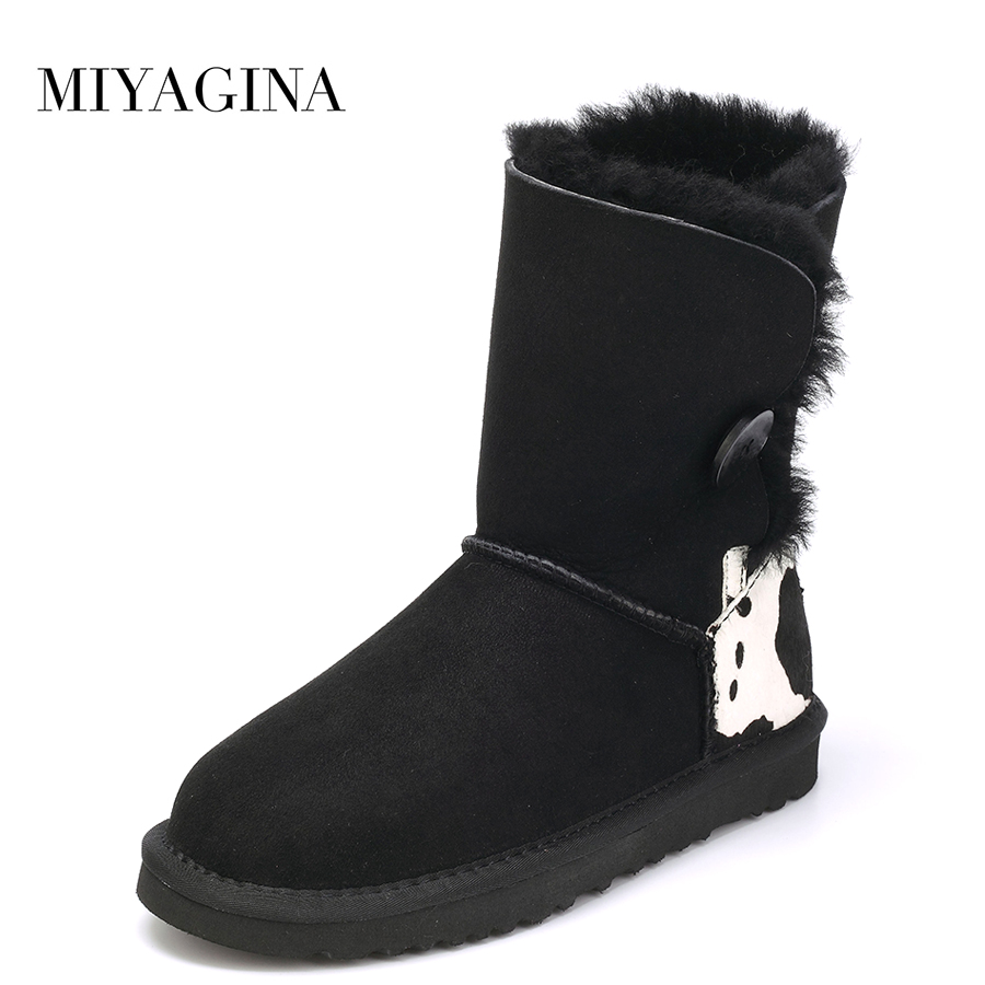 Top Quality 2018 New Genuine Sheepskin Leather Real Wool snow boots Fashion Natural Fur Botas Mujer Winter Brand Women Shoes