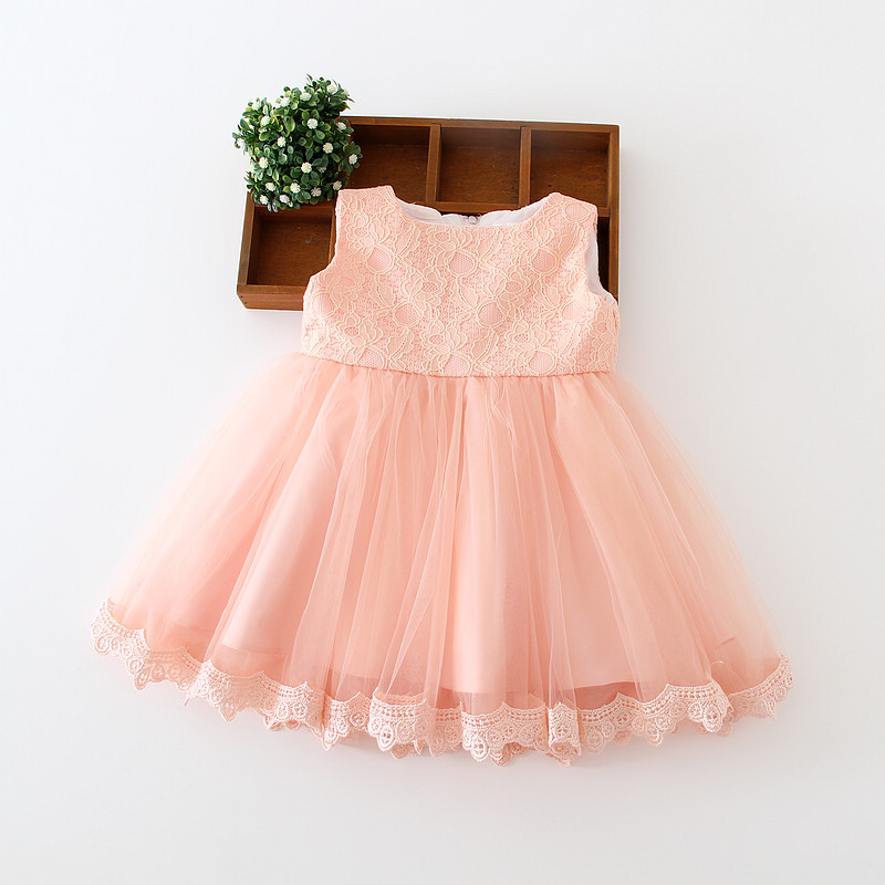383e0603a Newborn baby girls birthday dress first baptism christening wedding party  baby's dresses lace pink bow ball gown cute baby dress