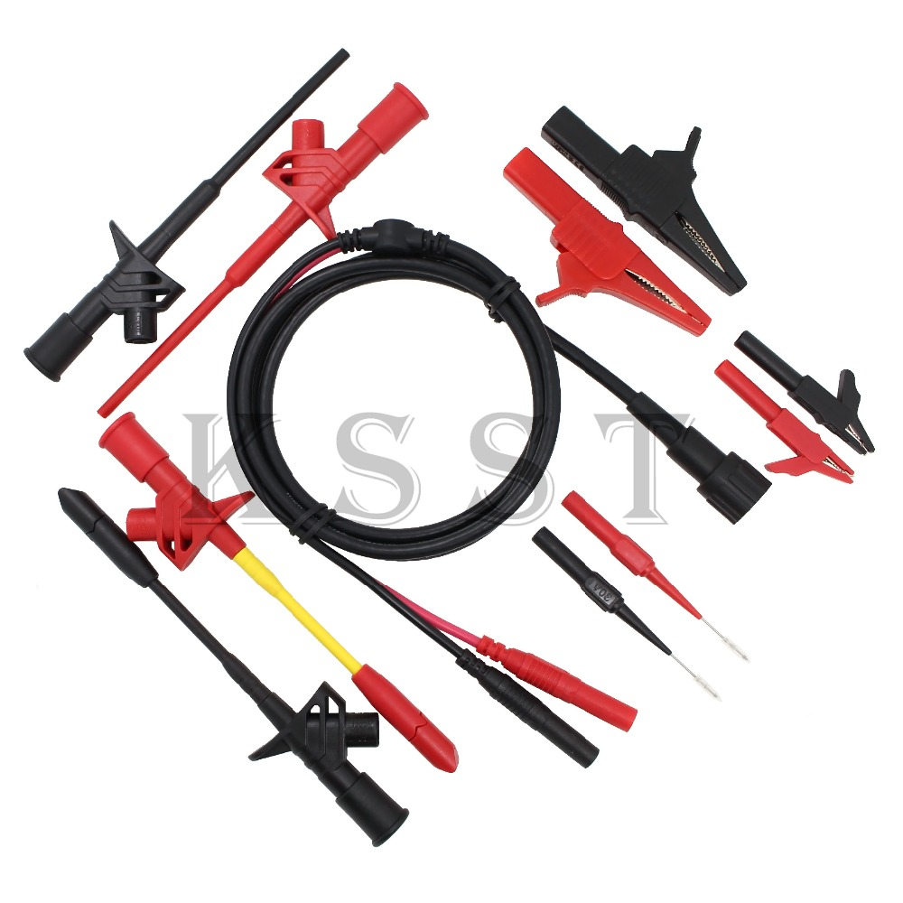 B004 11pcs/set BNC Electronic Specialties Test Lead kit Automotive Test Probe Kit Universal Multimeter probe leads kit aidetek needle tipped tip leadmodular heavy duty test probe handles tl809 leads set for multimeter leads 2tlp20162
