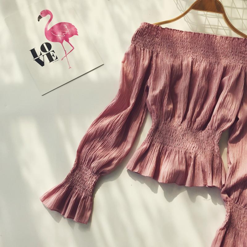 2019 spring new women pure color slash neck elasticity waist lantern sleeve blouses shirt female elegant sweet slim shirts tops 17