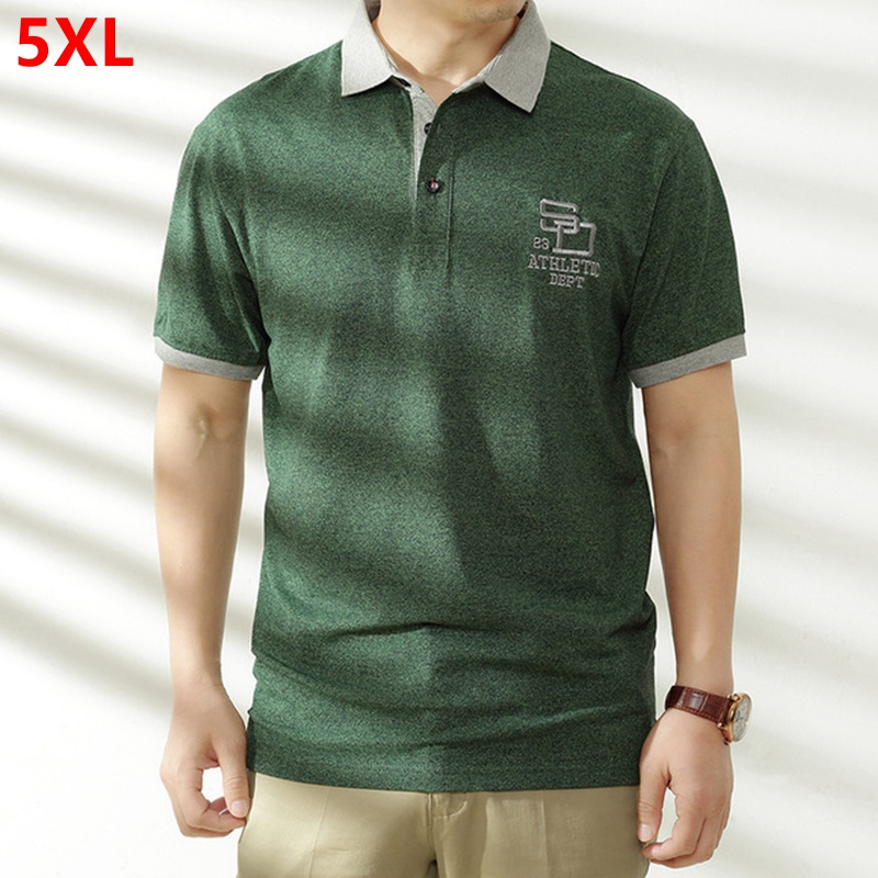 Large size men's large short-sleeved male 5XL 4XL lapel plus size XL oversized half-sleeve solid color   POLO   shirt