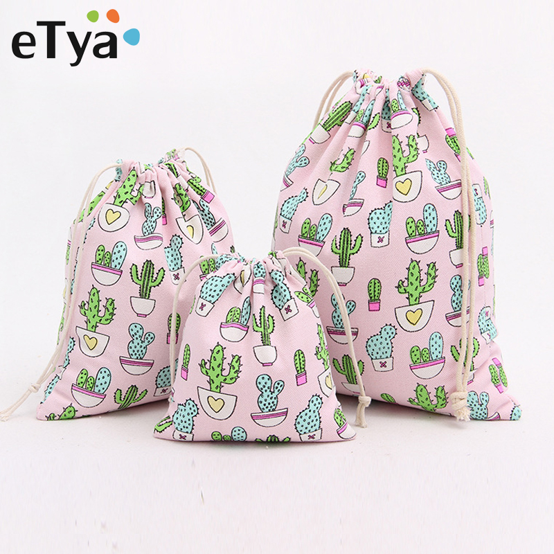 ETya Cotton Women Cosmetic Bag Drawstring Bag Unisex Fashion Cactus Printing Travel Organizer Packaging Storage Makeup Bags