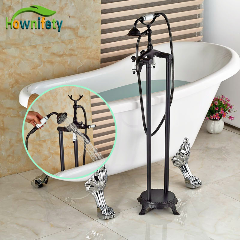 Luxury Oil Rubbed Bronze Bathtub Faucet Hot&Cold Water Faucet with Blue and White Porcelain Handles allen roth brinkley handsome oil rubbed bronze metal toothbrush holder