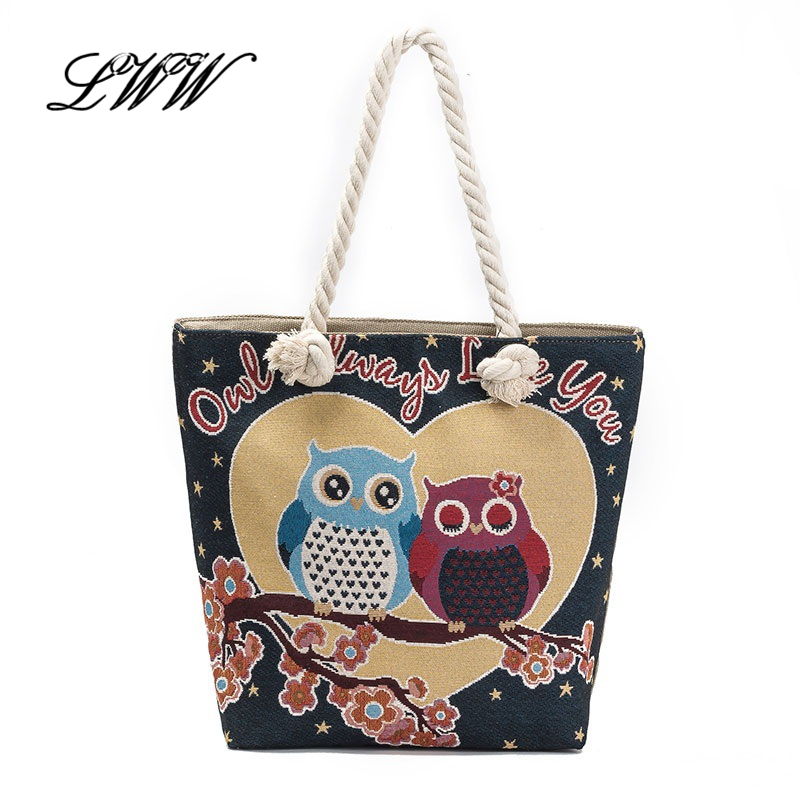 Fashion Owl Canvas Tote Bags for Women Cartoon Printing Large Beach Retro National Female Single Shoulder