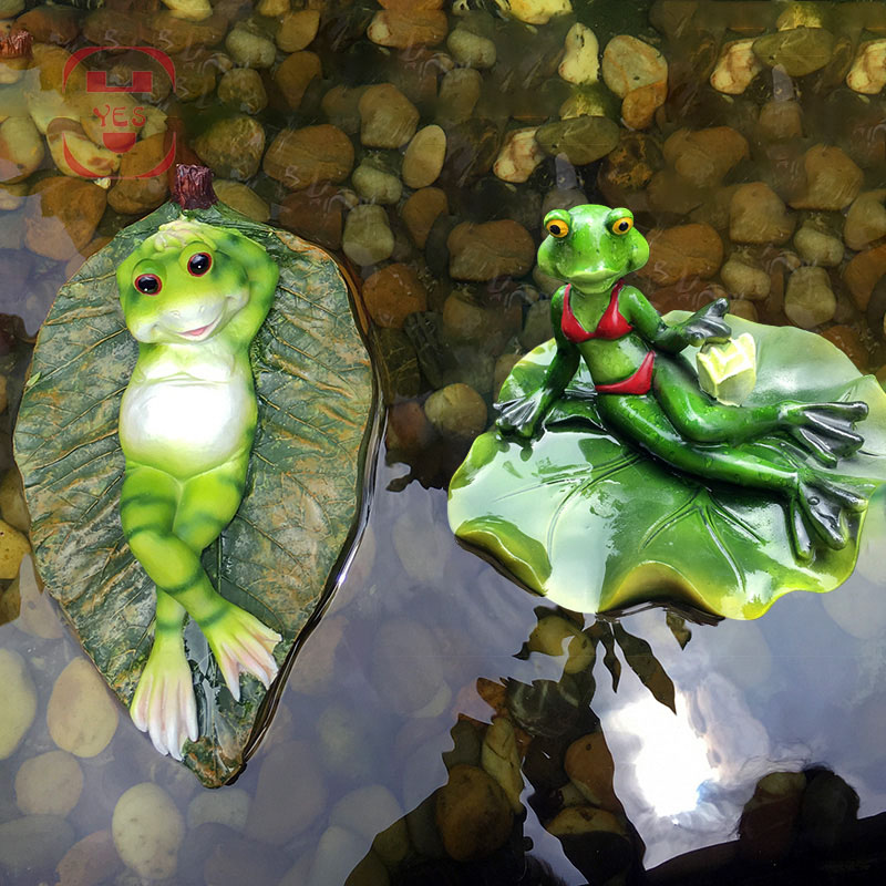 Resin Sexy Bikini Floating Frogs Statue Outdoor Garden Pond Decorative Animal Sculpture For Home Desk Garden Decor Funny Gift