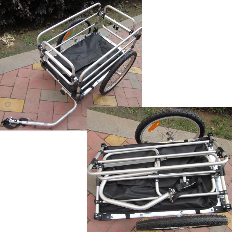 20 Inch Bike Cargo Trailer With Rain Cover Aluminium Alloy Frame Bicycle Children Trailer Mountain Bike Kids Trailer