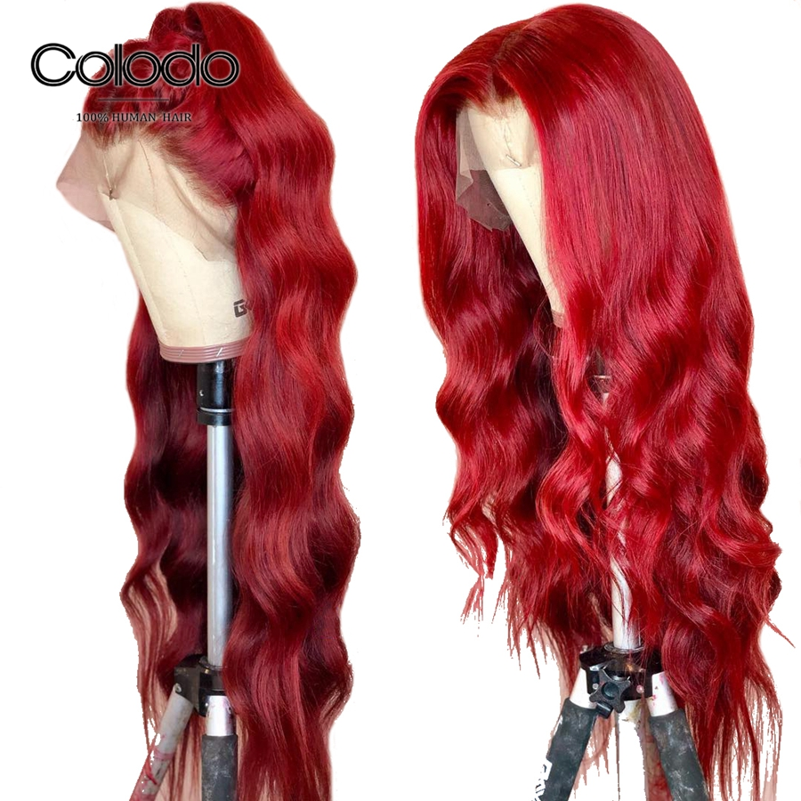 COLODO Glueless 13x6 Lace Front Wig Red Human Hair Wig with Baby Hair Remy Hair Loose