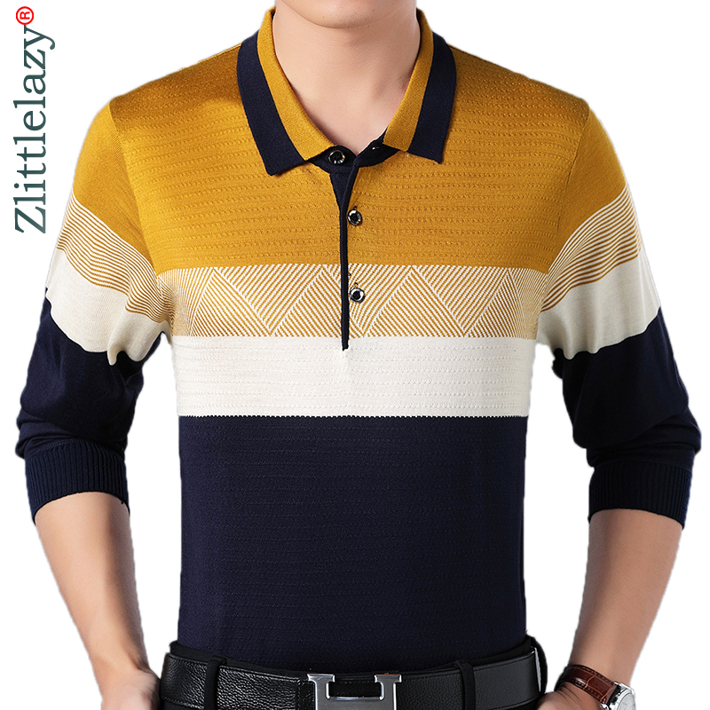 2018 designer brand long sleeve slim fit   polo   shirt men casual jersey striped mens   polos   vintage luxury quality tee shirt 56812