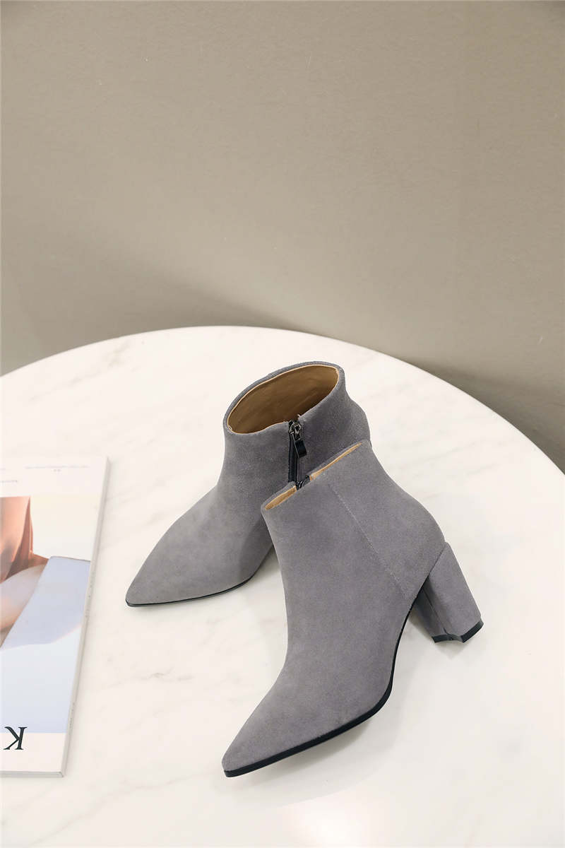 RYVBA Women suede Genuine leather pointed toe Ankle boots womens Autumn winter boots 2018 Woman fashion square high heels shoes 16
