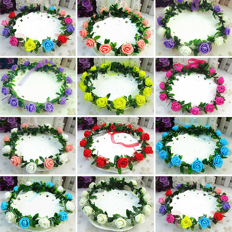 Rose Carnations Peony Flower Halo Bridal Floral Crown Hair Band Wreath Mint Head Wreath Party Wedding Headpiece Bridesmaid