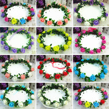 Rose Carnations Peony Flower Halo Bridal Floral Crown Hair Band Wreath Mint Head Wreath Party Wedding Headpiece Bridesmaid(China)