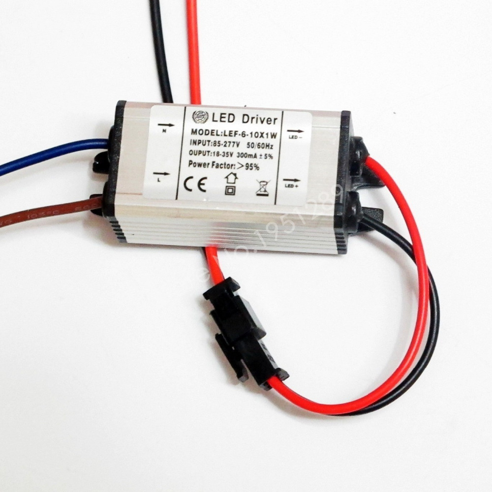 CE Certified IP67 300mA 6-10x1W Led Driver 6W/7w/8W/9W/10w Power Supply DC 18V - 35V AC 110V 220V for LED lights