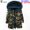 YOUMIGUE Women parka winter 2017 Fashion Female Camouflage raccoon fur collar hooded coat outwear natural fox fur lining jacket
