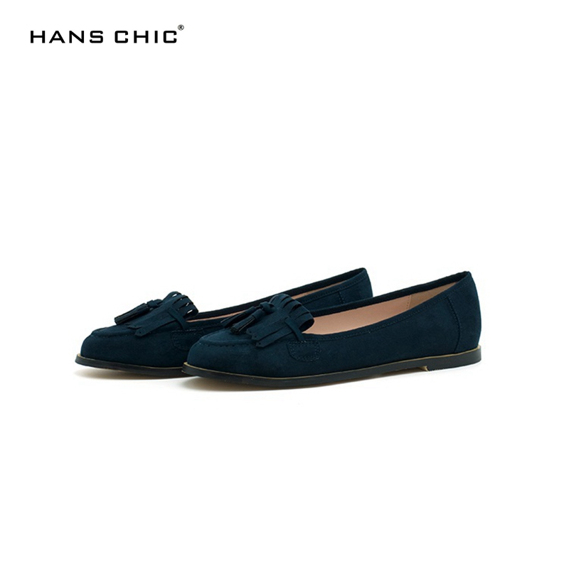 HANSCHIC 2017 New Arrival Dark Navy Blue Retro Vintage Style Slip On Ladies Women Causual Loafers for Female 1101