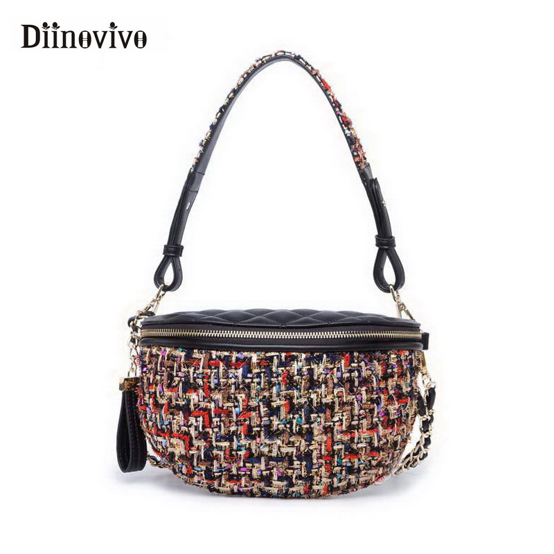 DIINOVIVO New Women Waist Bag Fashion Designer Fiber Knit Shoulder Bag PU Leather Fanny Pack Money Belt Bag Chain Pouch WHDV0610