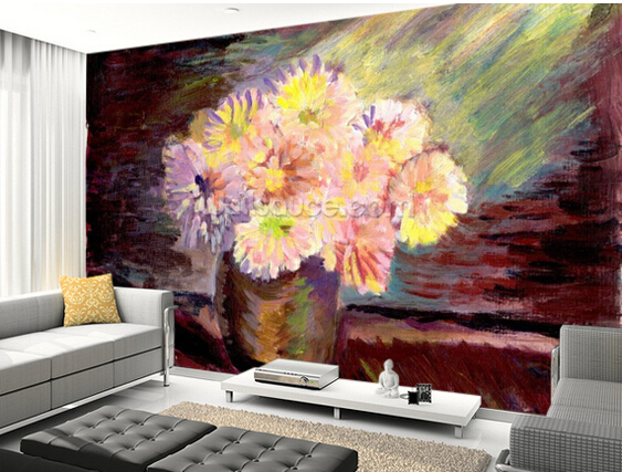 Custom floral wallpaper,Flower Oil Painting,3D retro for the living room bedroom kitchen background wall waterproof wallpaper iarts aha072962 hand painted thick texture of knife painting trees oil painting red 60 x 40cm