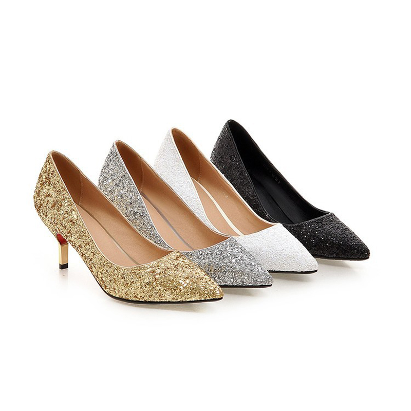 Spring Summer Thin Heel Women Pumps All Match 7cm Middle Heel Wedding Shoes  Glitter Sequined Cloth Bridesmaid Shoes Silver Gold-in Women s Pumps from  Shoes ... ff04511da3d1