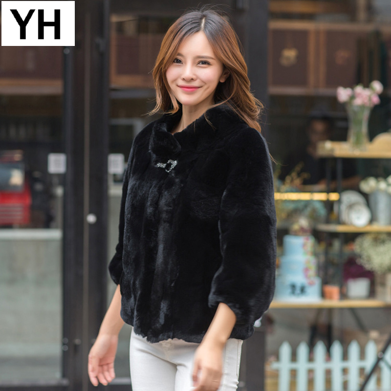 2018 Autumn Winter Women Real Rex Rabbit Fur Coat Real Rex Rabbit Fur Jacket Full Pelt