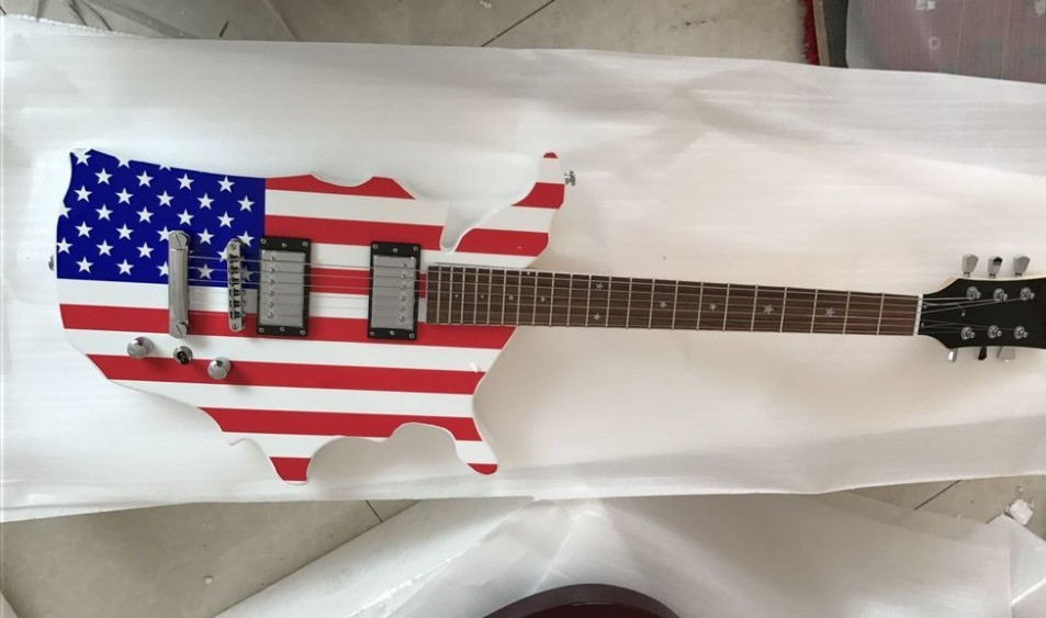 2019 new factory usa country shape body electric guitar usa national flag top electric. Black Bedroom Furniture Sets. Home Design Ideas