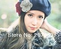 ladies''s fashion sweet flower soft wool hat Beanies Cap Autumn Spring Winter mulit color option wholesale