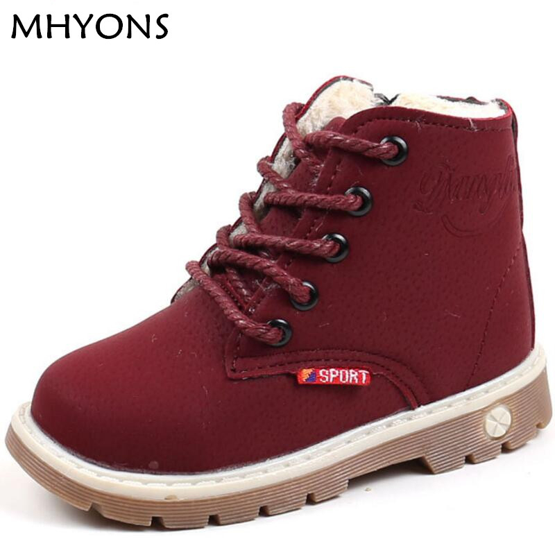 MHYONS winter Fashion Child Leather Snow Boots For Girls Boys Warm Martin Boots Shoes Casual Plush Child Baby Toddler Shoe mhyons 2018 new children s soft bottom toddler shoes boys and girls casual shoes garden shoes solid color breathable casual shoe