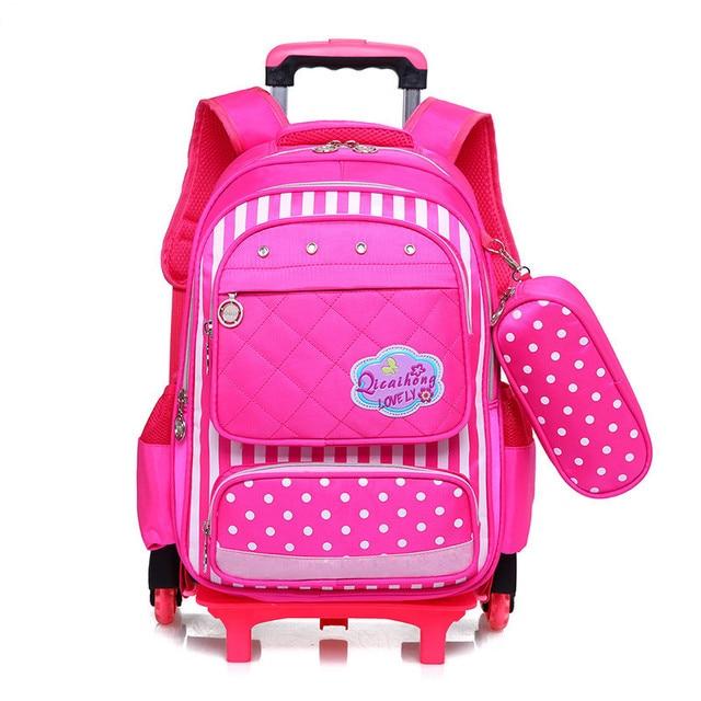 b5d6f231e10 Kids 2 6 Wheels Removable Trolley Backpack Wheeled Bags Children School Bag  for Boys Girls Travel Bags Child School Backpack