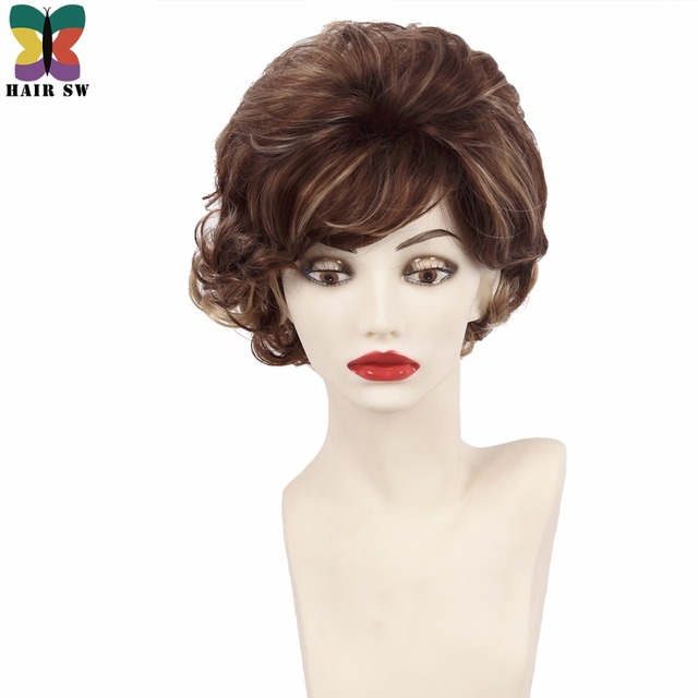 Hair Sw Short Soft Wispy Curls Layered Synthetic Wigs Brown With