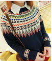 2016 New Loose Knitted Women Sweater O-Neck Vintage Print Casual Slim Ladies Cashmere Sweater Pullover Spring Winter