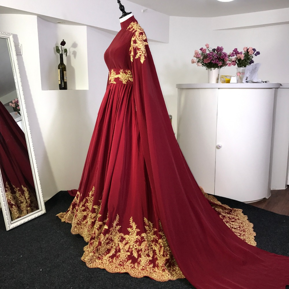 Long Sleeves Burgundy Red Gold Lace Court Train Arabic Wedding ...
