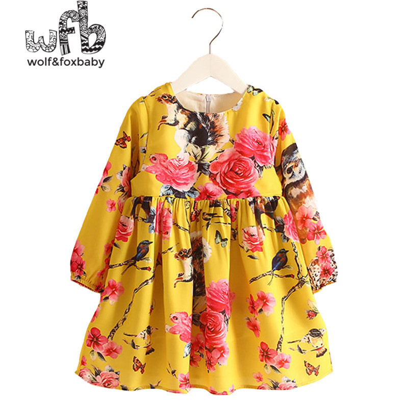 Retail 2-8 Princess Dress Flax Long Sleeve Clothing Baby Girl Cute Pink Floral Print Spring fall summer New