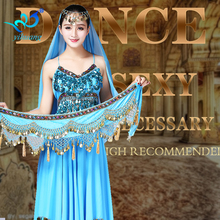 Free Shipping Belly Dancing Costume Set Suit Performance Indian Sequined & Chiffon Outfits 3pcs Bra Top + Skirt + Hip Scarf